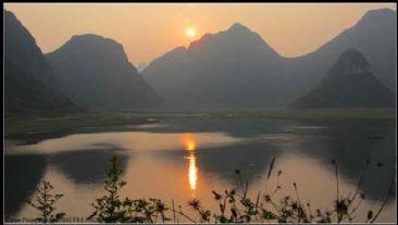 美丽柳州:夕阳下的班江水库