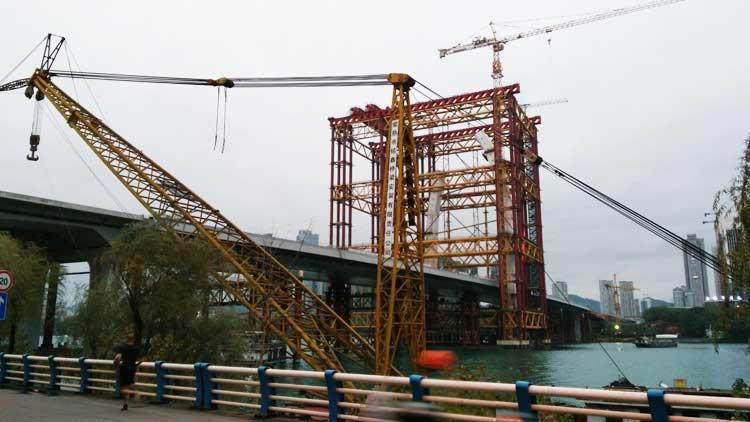 美丽柳州  建设中的白沙大桥